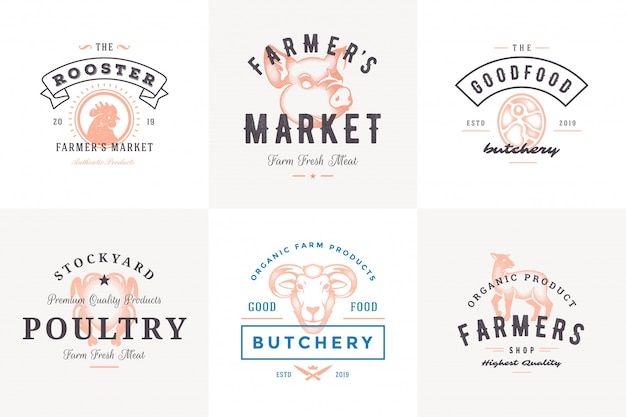 Engraving logos and labels farm animals with modern vintage typography hand drawn style set vector illustration.