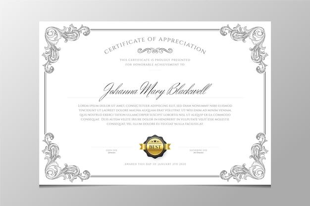 Modello di certificato ornamentale di incisione