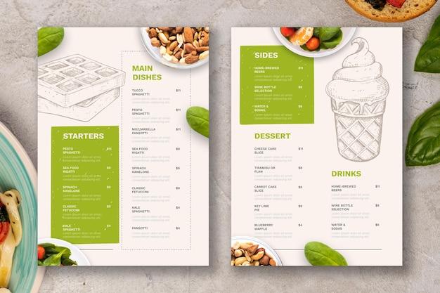 Engraving rustic restaurant menu with photo