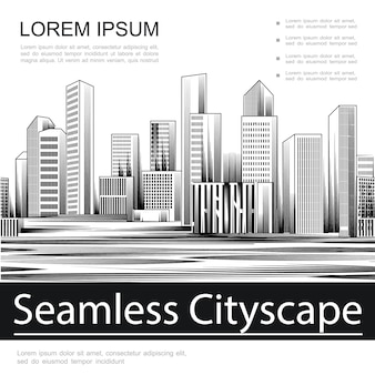 Engraving seamless cityscape template