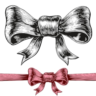 An engraving style drawing of a bow.