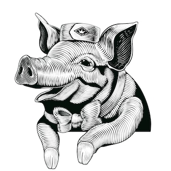 Engraving style pig, smiling pig  elements for delicatessen shop