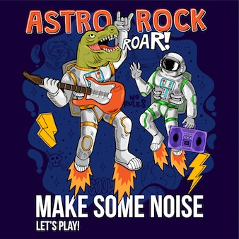 Engraving two cool dude astronauts dino t-rex and spaceman play astro rock on electric guitar between stars planets galaxies cartoon comics pop art for print design t-shirt apparel poster for children