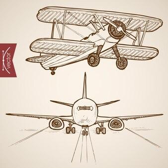 Гравюра старинные рисованной коллекции воздушного транспорта. карандашный рисунок эволюция самолета