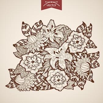 Incisione vintage bouquet di fiori disegnati a mano. negozio floristico di gigli di schizzo a matita