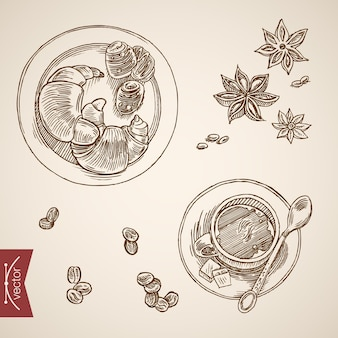 Engraving vintage hand drawn  french breakfast with croissant and coffee collection.