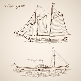 Engraving vintage hand drawn frigate barge