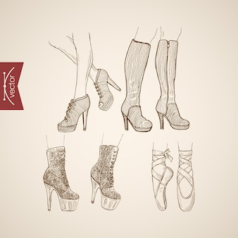 Engraving vintage hand drawn high heeled boots and ballet shoes