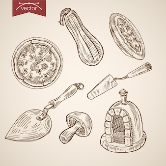 Engraving vintage hand drawn  italian pizzeria food collection.