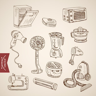 Engraving vintage hand drawn  kitchen household appliance devices collection.