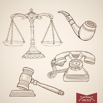 Гравюра старинные рисованной коллекции закон и справедливость. карандашный рисунок судья по делу весы и молоток, детектив пайп и телефон