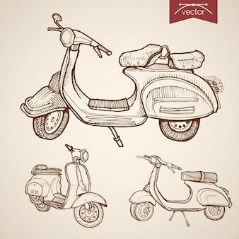 Гравюра старинные рисованной низкоскоростной мопед, коллекция скутеров. карандашный рисунок городской курьерской доставкой транспорт