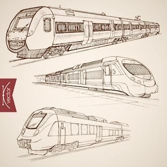조각 빈티지 손으로 그린 현대 고속 열차 컬렉션. 연필 스케치 철도 운송