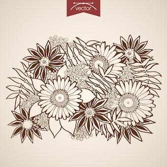 ヴィンテージ手描きの自然の花の花束を刻印。ペンシルスケッチカモミールフローリスティックショップ