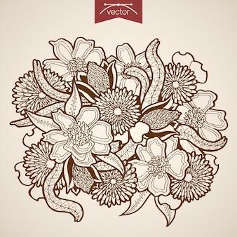 ヴィンテージ手描きの自然な花の花束を刻印。鉛筆スケッチフローリスティックショップ