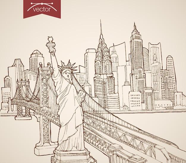 조각 빈티지 손으로 그린 뉴욕 명소와 명소. 연필 스케치 자유의 여신상, 맨해튼 고층 빌딩 미국 개념 여행.