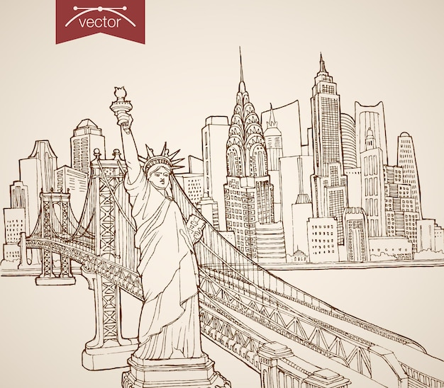 Engraving vintage hand drawn new york sights and landmarks. pencil sketch statue of liberty, manhattan skyscrapers  travel to united states concept.