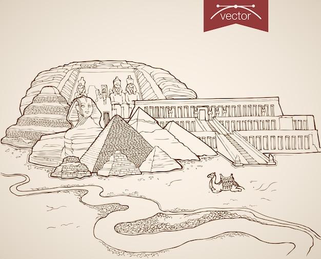 エジプトの名所やランドマークを手描きで描いたヴィンテージの彫刻。鉛筆スケッチスフィンクス、ピラミッド、城塞、ハトシェプスト神殿の観光