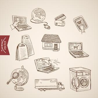 Collezione di shopping online mondiale disegnata a mano vintage incisione.