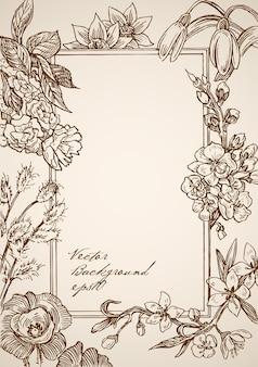 Гравюра винтажная рисованная прямоугольная рамка с цветочными элементами
