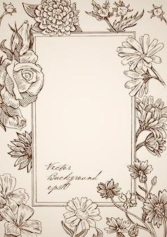 꽃 요소와 빈티지 손으로 그린 사각형 프레임 조각