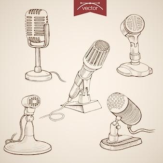 Гравюра старинные рисованной ретро эволюция коллекции микрофонов. pencil sketch radio, аудиозапись медиаоборудование