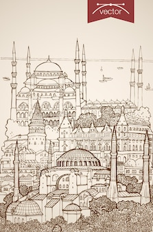 Engraving vintage hand drawn of sights and landmarks in istanbul. pencil sketch blue mosque, hagia sophia sightseeing  travel turkey concept.