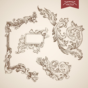 Engraving vintage hand drawn  tracery frame collection.
