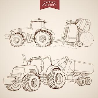 ヴィンテージの手描きのトラクターを彫刻し、コレクションを組み合わせます。鉛筆スケッチ農機具