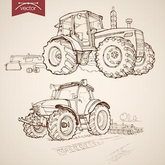 ヴィンテージ手描きトラクタープラウコレクションの彫刻。鉛筆スケッチ農機具