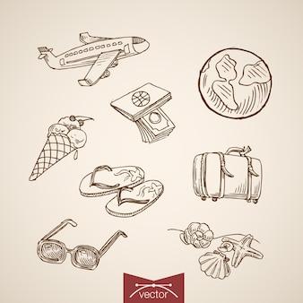 ヴィンテージ手描きの世界旅行ツーリズムコレクションを刻印。