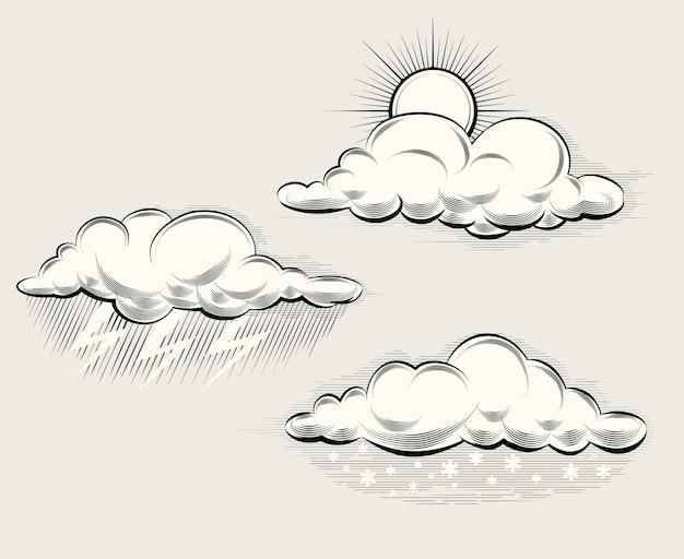 Гравировка погоды. солнце за облаком, дождем, снегом, молнией и грозой. векторная иллюстрация