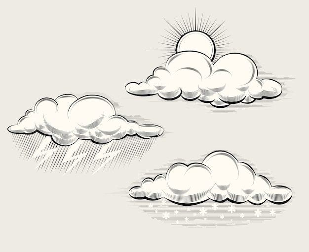 Engraving weather. sun behind a cloud, rain, snow and lightning and storm. vector illustration