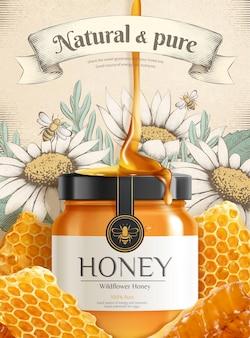 Engraving wildflower honey ads