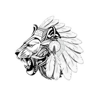 ライオンの頭のベクトルで彫刻