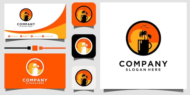 Наслаждайтесь напитком, глядя на логотип пляжа на фоне шаблона визитной карточки