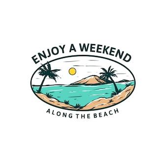 Наслаждайтесь дизайном футболки выходного дня на пляже, море, иллюстрация