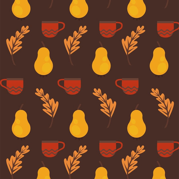 Enjoy autumn poster with dry fruits and leafs pattern.