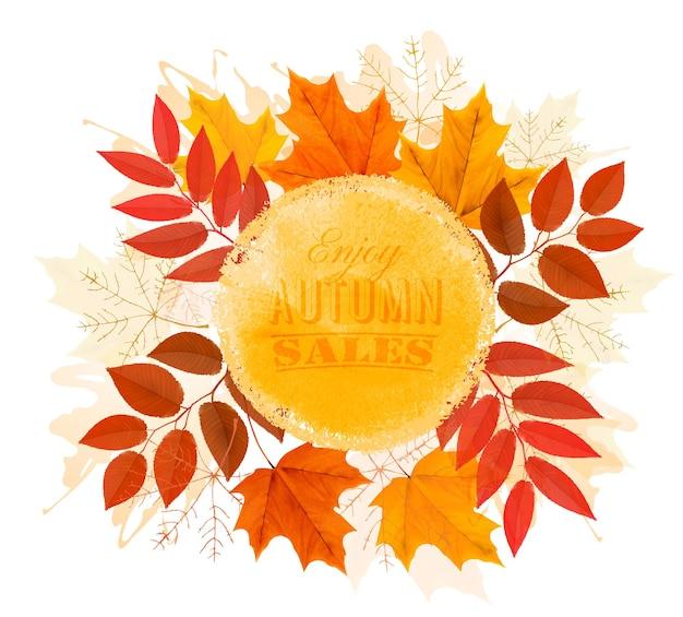 Наслаждайтесь баннером осенних продаж с осенними листьями. вектор.