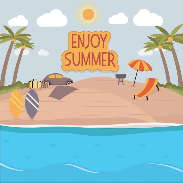 Enjoy beach summer illustration