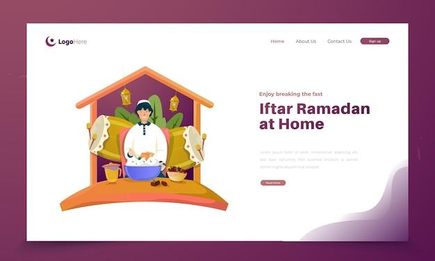 Enjoy breaking the fast or iftar ramadan illustration at home Premium Vector