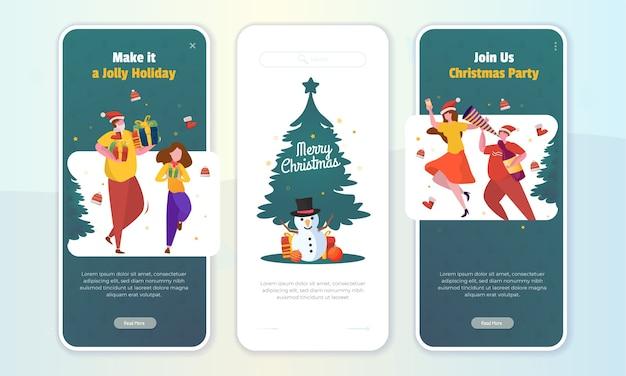 Наслаждайтесь иллюстрацией рождественской вечеринки для рождественских поздравлений на бортовом экране