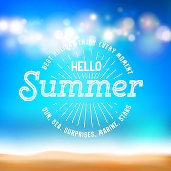 Enjoy everymoment sign and hello summer on holiday card.