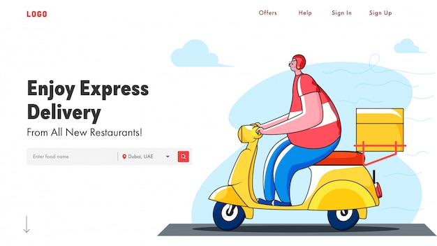 Enjoy express delivery landing page  with courier boy riding scooter.