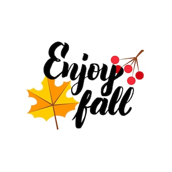 Enjoy fall lettering. vector illustration of calligraphy. autumn concept.