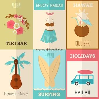 하와이 포스터 세트 즐기기