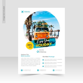 Enjoy holiday and travel agency flyer template or business flyer