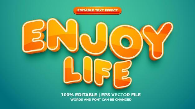 Enjoy life orange bold 3d editable text effect