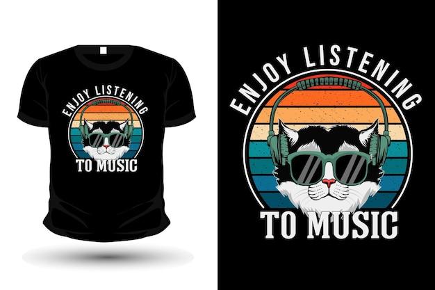 Enjoy listening to music illustration retro t-shirt design with cat