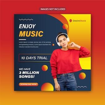 Enjoy music instagram post or banner